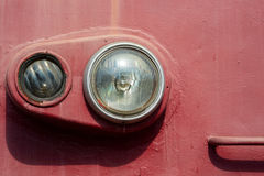 Closeup view of an old locomotive headlight. Minimalistic photog Stock Photo