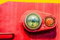 Closeup view of an old locomotive headlight. Minimalistic photog Stock Photos