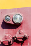 Closeup view of an old locomotive headlight. Minimalistic photog Stock Images