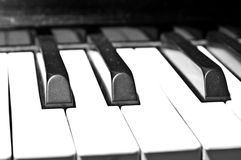 Piano Keyboard. Closeup view of an old piano keyboard Royalty Free Stock Photos