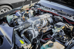Closeup view of old retro car engine Stock Photography