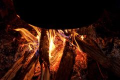 Campfire flame under pot Stock Image