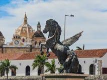 Closeup view of the pegasus statues at pegasus wharf in cartagena royalty free stock photo