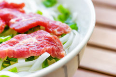 Closeup view of the Pho Bo. Popular beef noodle soup in Vietnam Royalty Free Stock Images