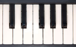 Closeup view of piano keyboard. Isolated on white background Stock Images