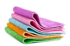 Cleaning rags. Closeup view of pile of colorful cleaning rags Royalty Free Stock Photo