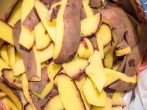 Closeup view of pile of potato skin pieces.  Stock Image