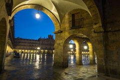 Closeup view of  Plaza Mayor  in evening Royalty Free Stock Images
