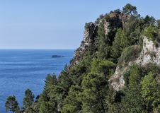 Closeup view of a portion of the rugged sheer shoreline of the Amalfi Coast. Pictured is a closeup view of a portion of the Amalfi Coast, a 50-kilometer stretch Royalty Free Stock Image