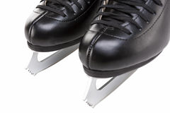 Closeup View of Professional Mens Figure Skates Isolated Over Wh Stock Photography