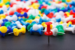 Closeup view of red office push pin Stock Photo
