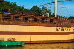 Closeup view of restaurant Frigate Flagship near the embankment at summer sunset in Veliky Novgorod, Russia Stock Image