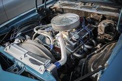 Closeup view of retro classic vintage car engine Stock Photo