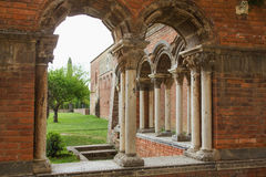 Closeup view of the ruins of the brick church Stock Photo
