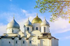 Closeup view of Saint Sophia Cathedral in Veliky Novgorod, Russia, closeup of domes. Veliky Novgorod, Russia. St Sophia cathedral - the oldest Russian Orthodox royalty free stock images