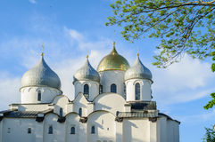 Closeup view of Saint Sophia Cathedral in Veliky Novgorod, Russia at summer sunset Stock Photography