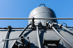 Closeup view of a sand dome on top of steam locomotive boiler ag Royalty Free Stock Photography