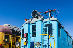 Closeup view of a service electical railroad engine of blue colo Royalty Free Stock Photos