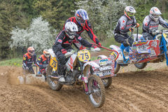 Closeup view of the sidecars clash Stock Image