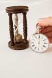 Closeup view of a silver pocket watch. Royalty Free Stock Photos