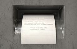 ATM Slip Declined royalty free stock image