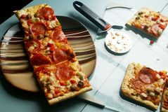 Homemade Pizza Slices royalty free stock photography