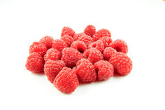 Closeup view of some raspberries. (rubus idaeus) - on white background Stock Photo