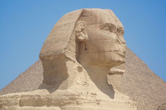 Closeup view of the Sphinx head with pyramid in Giza near Cairo, Egypt Royalty Free Stock Image