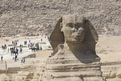 Closeup view of the Sphinx head with pyramid in Giza near Cairo, Stock Photos