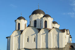 Closeup view of St. Nicholas Cathedral domes in Veliky Novgorod, Russia Stock Image