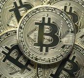 Bitcoin closeup of multiple coins Royalty Free Stock Photos