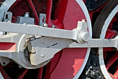 Closeup view of steam locomotive wheels, drives, rods, links and Stock Photography
