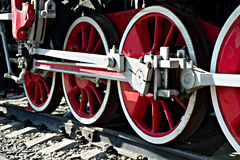 Closeup view of steam locomotive wheels, drives, rods, links and Royalty Free Stock Image