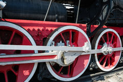 Closeup view of steam locomotive wheels, drives, rods, links and Stock Images