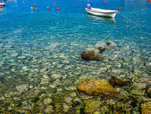 Closeup view on stone and sea Royalty Free Stock Photos