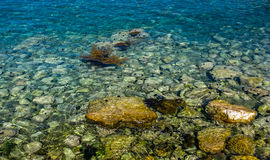 Closeup view on stone and sea Royalty Free Stock Image