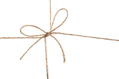 String knot. Closeup view of string knot over white background Royalty Free Stock Photography