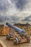 Closeup view to gun at Valetta fort Royalty Free Stock Image