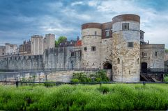 A closeup view of the Tower of London, London, England stock photos