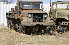 Closeup view of two old army vehicles Royalty Free Stock Photography