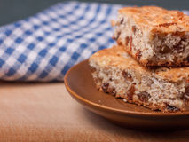 Closeup view of two piece of biscuit cake Royalty Free Stock Image
