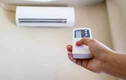 Closeup view about using some appliance. Such as air condition Stock Photo