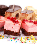 Closeup view of various creamy cakes Royalty Free Stock Photos