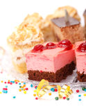 Closeup view of various creamy cakes Stock Photos