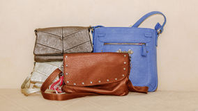 closeup view of various stylish fashionable leather ladies purses Royalty Free Stock Photo