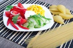 Closeup view of a vegetarian dish of raw vegetables Stock Photos
