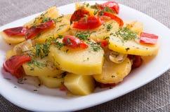Closeup view of a vegetarian dish of stewed potatoes Royalty Free Stock Photo