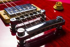 Closeup view of vintage classic electric rock jazz guitar. Closeup view of vintage classic electric rock jazz guitar stock photography
