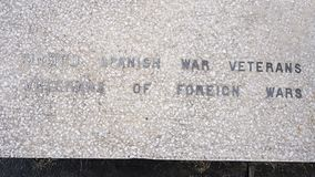 Closeup view war monument dedicated to the dead of all wars in the Veterans Memorial Garden, Dallas, Texas. stock photo