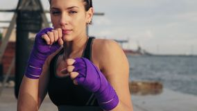 Closeup view of a young woman shadow boxing with her hands wrapped in purple boxing tapes looking in the camera stock video footage
